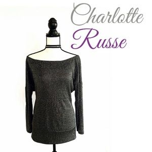 NWOT Charlotte Russe Sparkly Gray Long-Sleeve Top